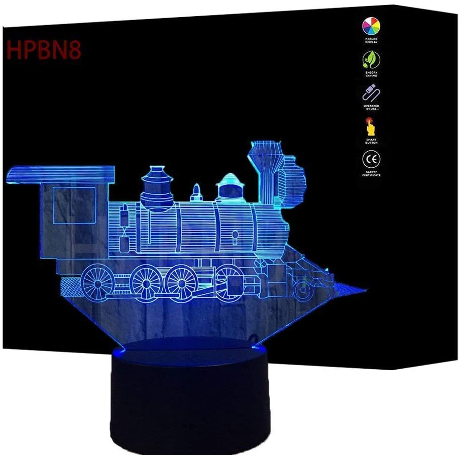 HPBN8 3D Locomotive Night Light USB Touch Switch Decor Table Desk Optical Illusion Lamps 7 Color Changing Lights LED Table Lamp Xmas Home Love Brithday Children Kids Decor Toy Gift