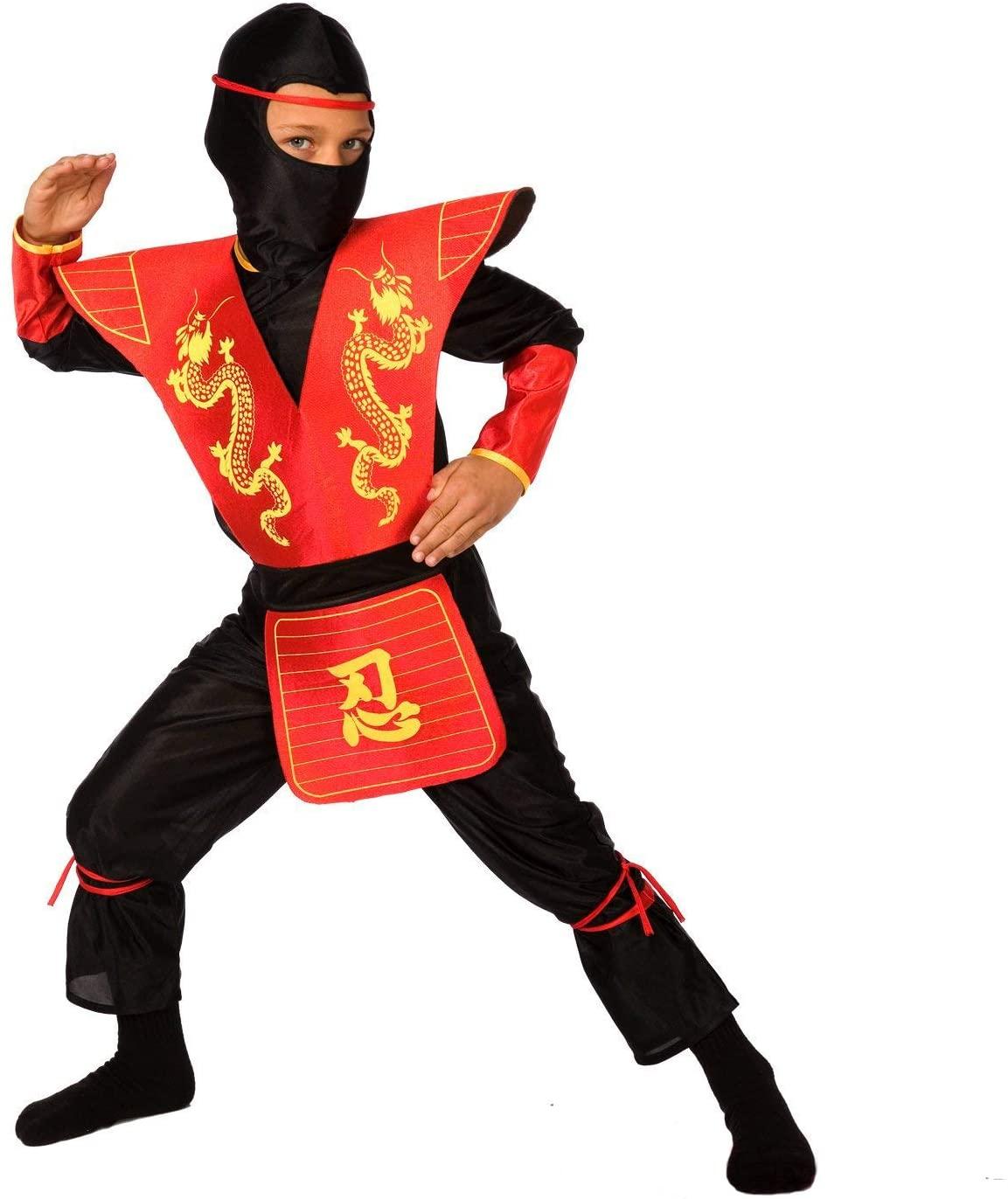 Kids Ninja Costume Childrens Red Kung Fu Dress Up Outfit - Medium (Age 6-8)