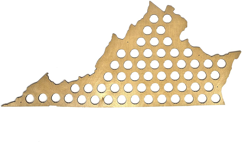 All 50 States Beer Cap Maps - Virginia Beer Cap Map VA - Glossy Wood - Skyline Workshop - Great Christmas gift!