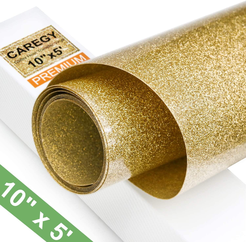 Glitter 10Inx5ft Gold Heat Transfer Vinyl Roll(HTV) for T-Shirt Clothing Garment Bags
