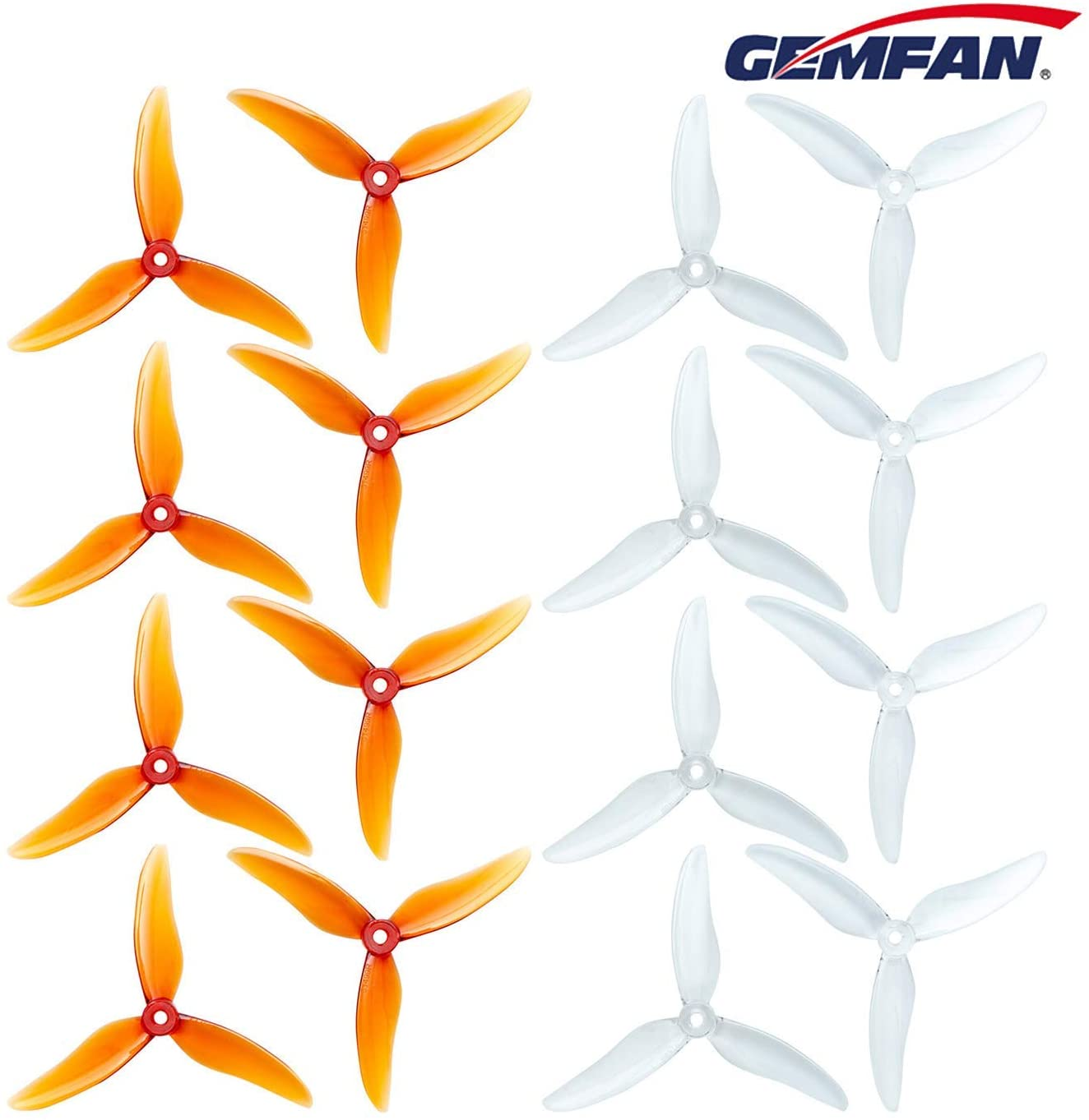 """16pcs GEMFAN Hurricane 51499 5 Inch Propeller 3-Blades Props CW CCW 5"""" Tri-Blade Propeller Best Match for 210 220 250 FPV Racing Drone Quadcopter Frame Kit (Clear Whisky + Clear)"""