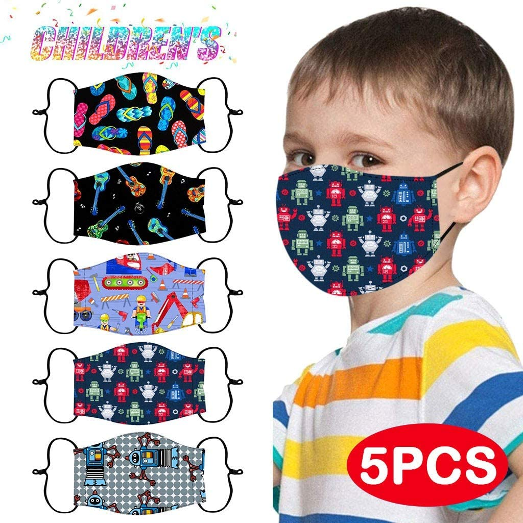 Gogoty Kids Cartoon Pattern Face Scarf Bandana Reusable Breathable Cotton Protection Children Outdoor Back to School (5pcs)