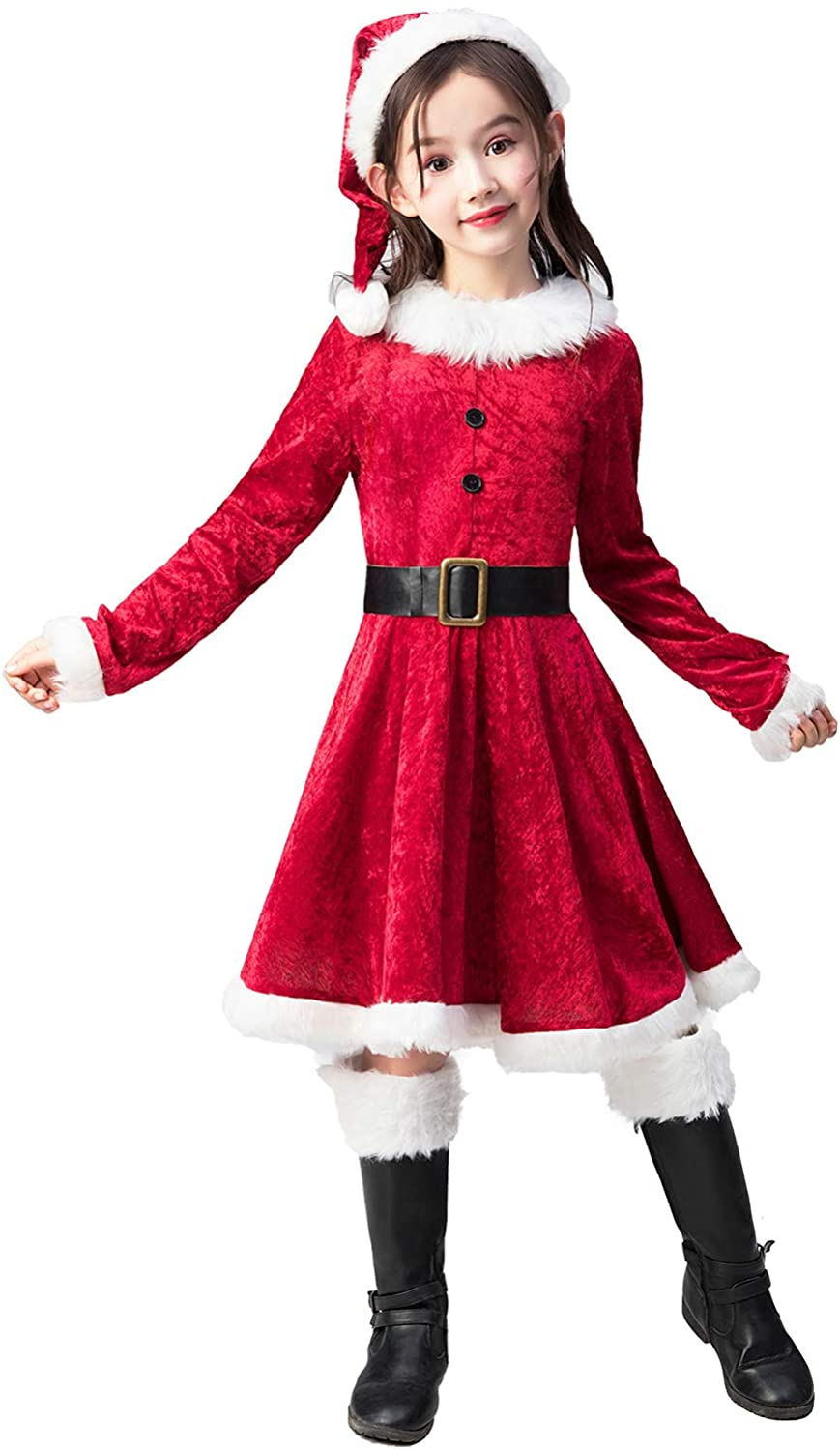 Takuvan Little Mrs. Santa Suit Girls Christmas Dress Outfit, Kids Halloween Cosplay Costume for Party