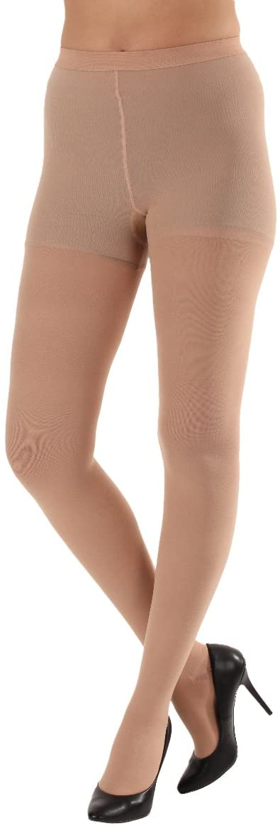 Opaque Compression Pantyhose 30-40mmHg Small Beige Closed Toe - Made in USA