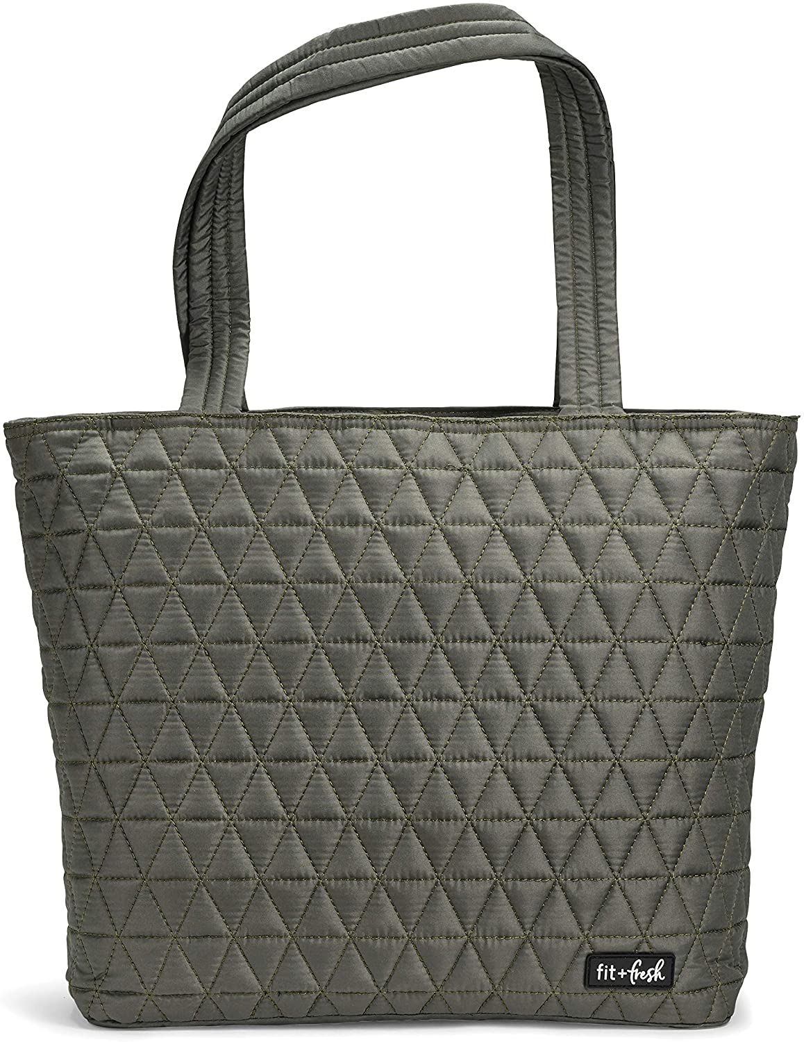 Fit & Fresh Deluxe 2 in 1 Quilted Tote Bag with Insulated Lunch Compartment, Professional Tote for Work, Olive Green
