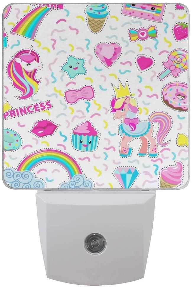 Printing Unicorn Donut Rainbow Patterns on Plug-in LED Night Light Warm White Nightlight for Bedroom Bathroom Hallway Stairways(0.5W 2-Pack)