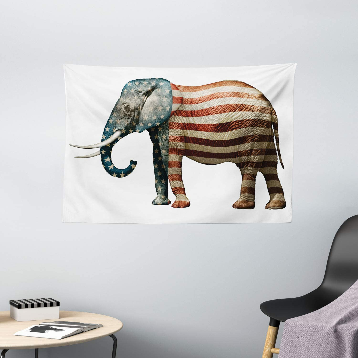 Ambesonne American Tapestry, Elephant Painted with US Flag Pattern Political National Love Print, Wide Wall Hanging for Bedroom Living Room Dorm, 60