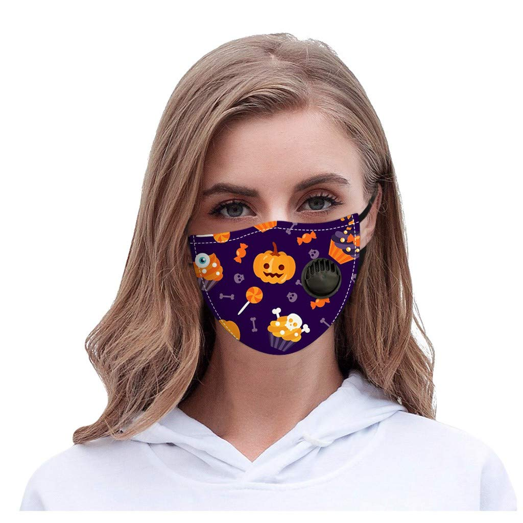 Walsent Halloween Reusable Cotton Face Bandanas with Breather Mouth Face Covering Protective Indoors and Outdoors for Unisex Adults