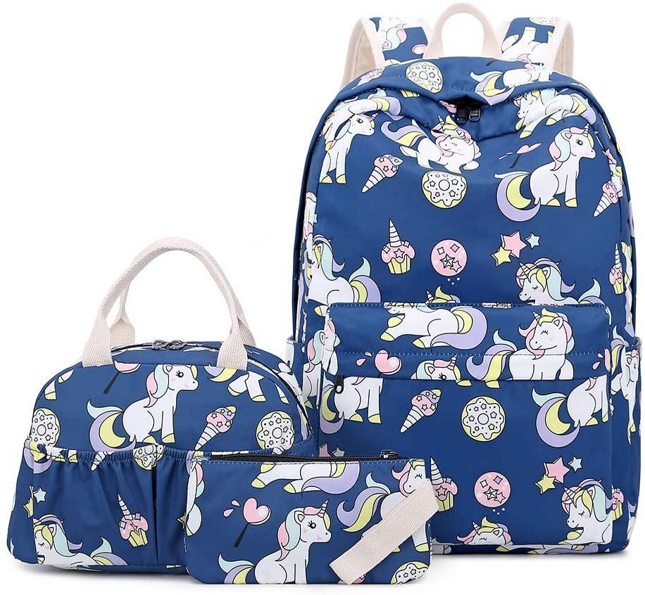 Lmeison Girls Bookbag Waterproof, Unicorn Backpack Set with Lunch Bag Pencil Case, Lightweight Travel Daypack 14inch Laptop Bag for School, Blue