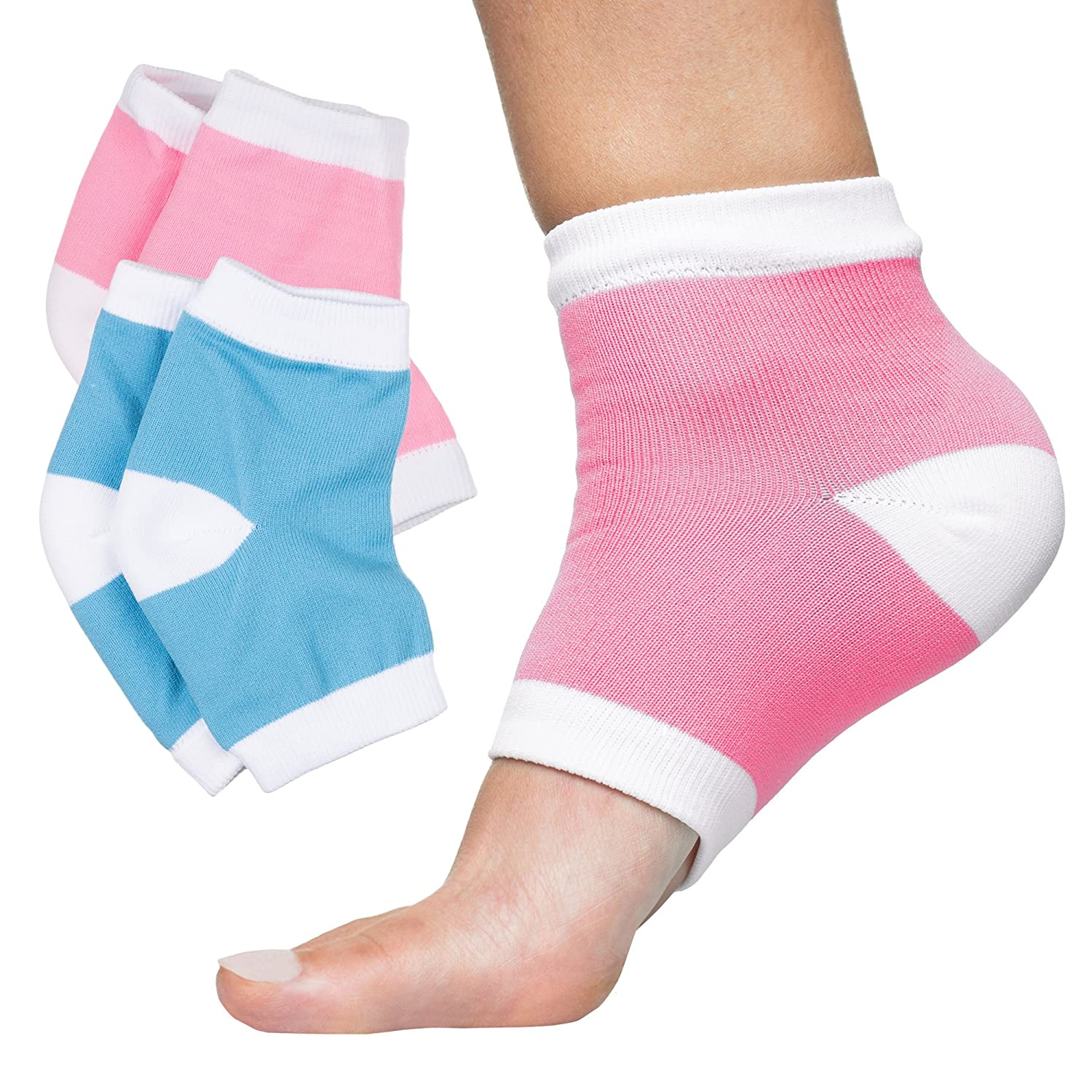 ZenToes Moisturizing Heel Socks 2 Pairs Gel Lined Toeless Spa Socks to Heal and Treat Dry, Cracked Heels While You Sleep (Cotton, Blue and Pink)