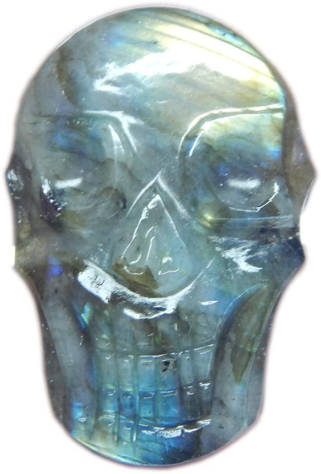 Myhealingworld Natural Blue Fire Labradorite Gemstone Handcrafted Flat Skull Face Statue/Sculpture.