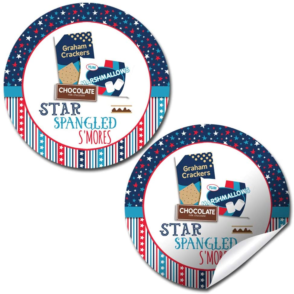 Star Spangled S'Mores 4th of July Party Thank You Sticker Labels, 40 2