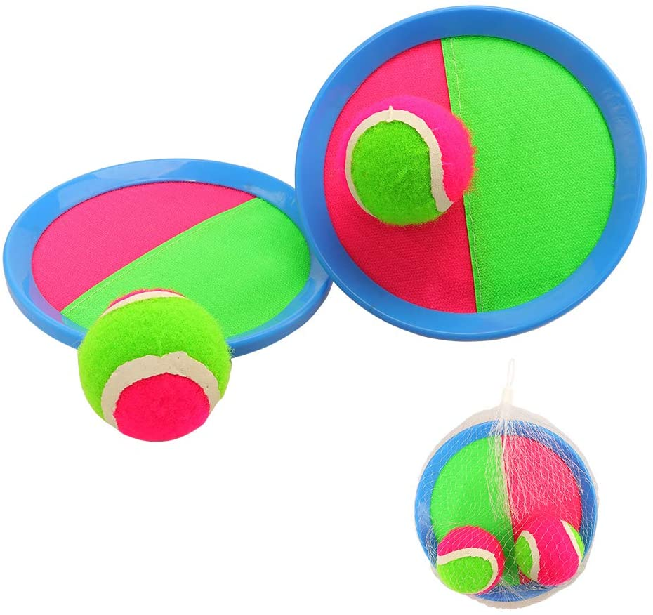 Miunana Toss and Catch Ball Game Set with 2 Paddles 2 Ball and 1 Net Bag Outdoor Toy for Kids