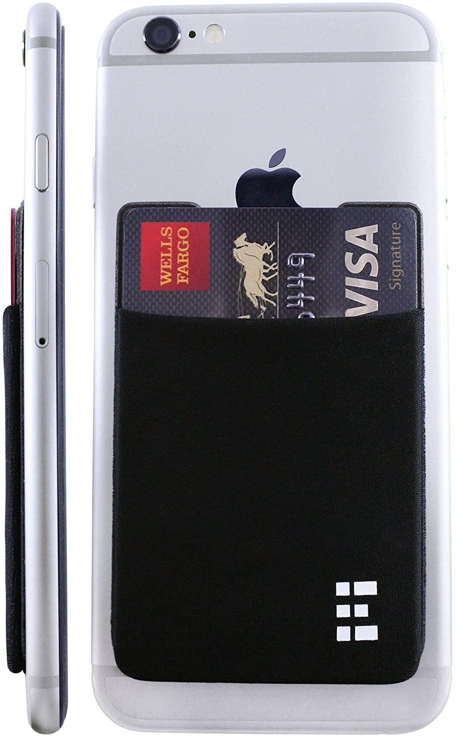 Cell Phone Credit Card Holder Stick On Wallet Case w/RFID Blocking (Midnight)