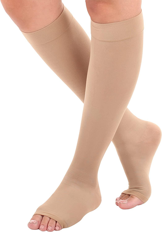 Microfiber Opaque Knee Hi 15-20mmHg Medium Beige Open Toe