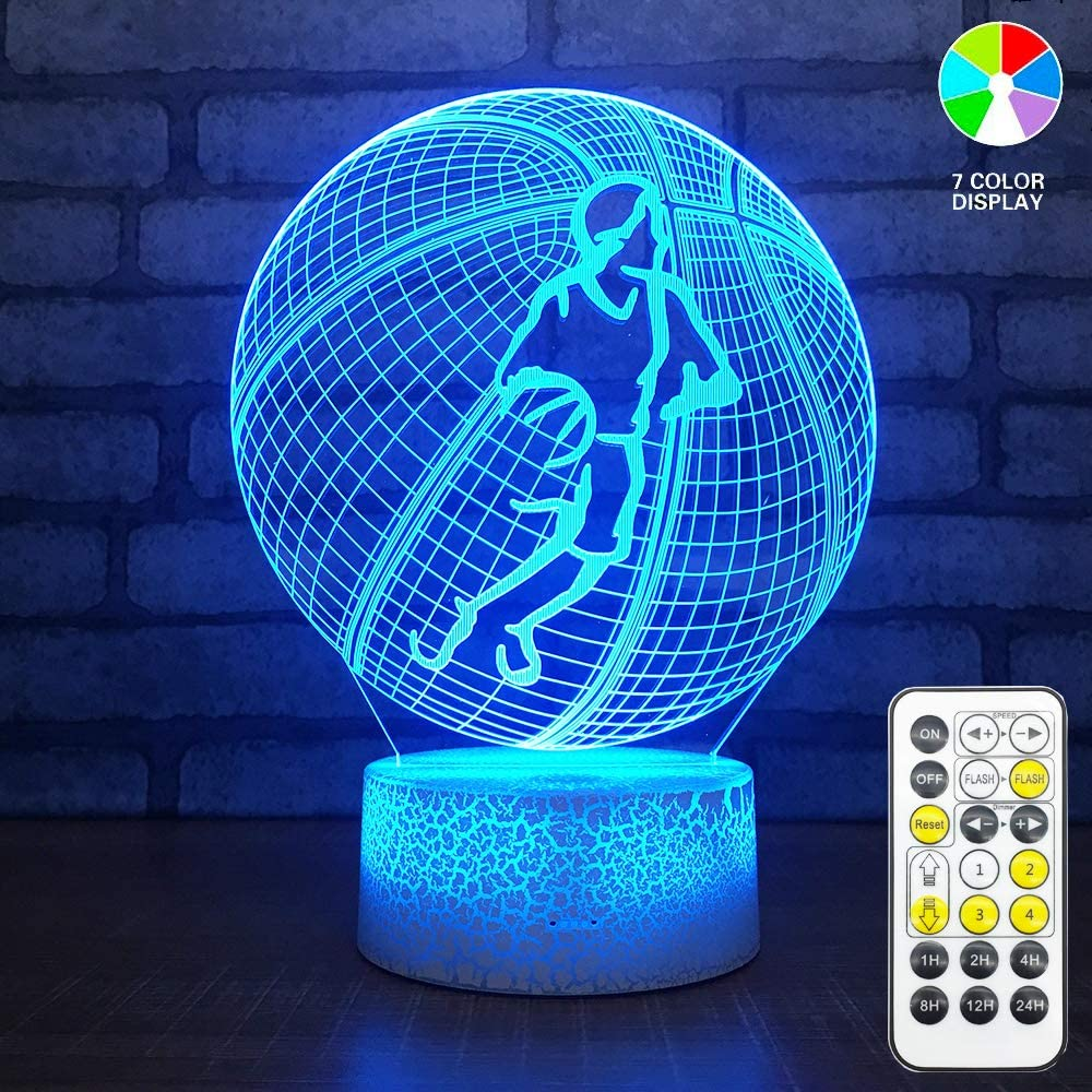 3D Illusion Basketball Night Light Lamp,7 Colors Changing, Acrylic Flat & ABS Base&USB Cable,Touch Switch and Remote Control,Great Gift for Kids Family Friends and Home Decoration Light