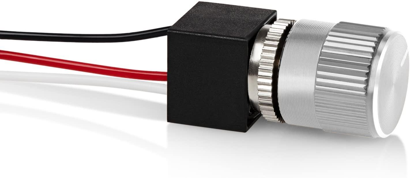 12 Volt DC Dimmer for LED, Halogen, Incandescent - RV, Auto, Truck, Marine, and Strip Lighting - Short Shaft - Silver