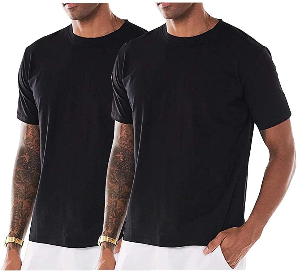 GAESHOW Men's T-Shirt Loose-Fit Short Sleeve Cotton Tee Shirt Crew Neck Lightweight Top S~2XL