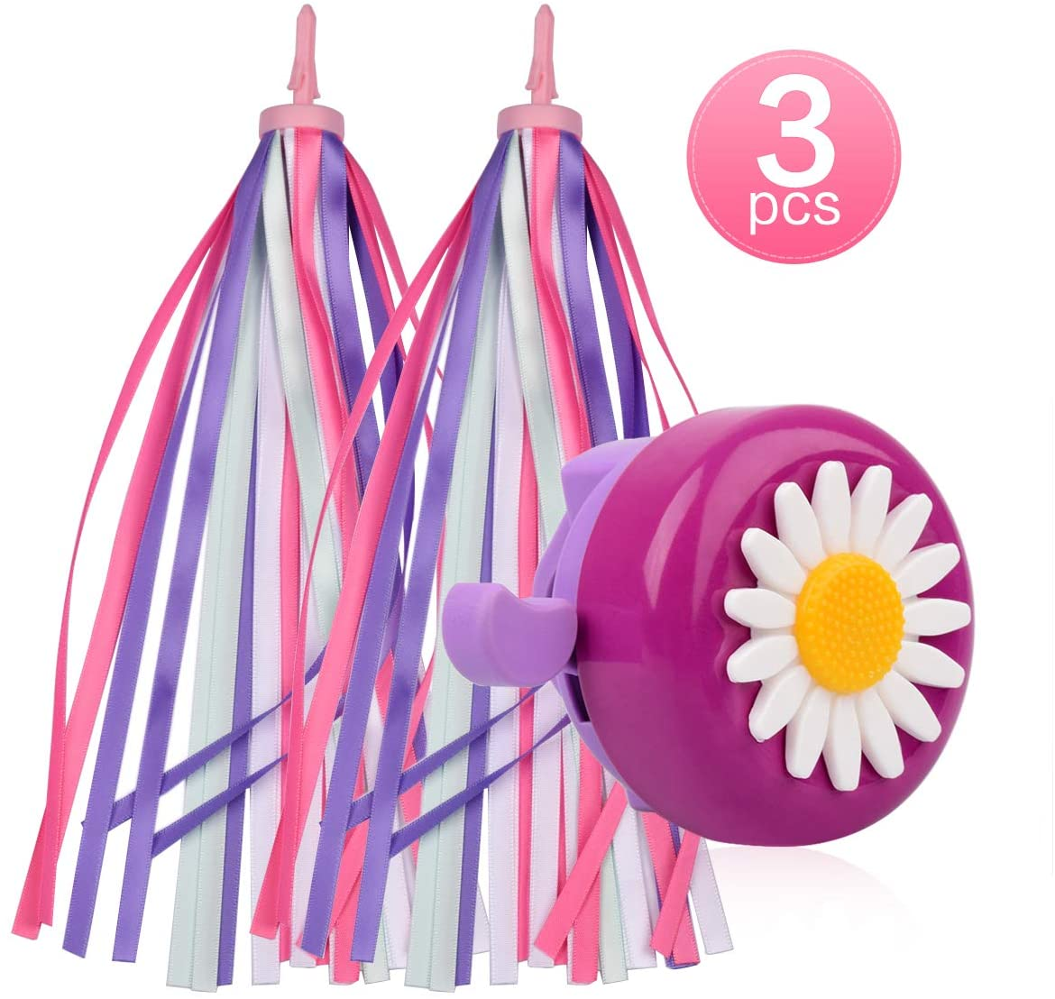 U-LIAN Kids Bike Bell and Streamers for Girls-1 Pack Flower Bicycle Bell with 2 Pack Handlebar Streamers Scooter Tassels for Childrens Bike Accessories