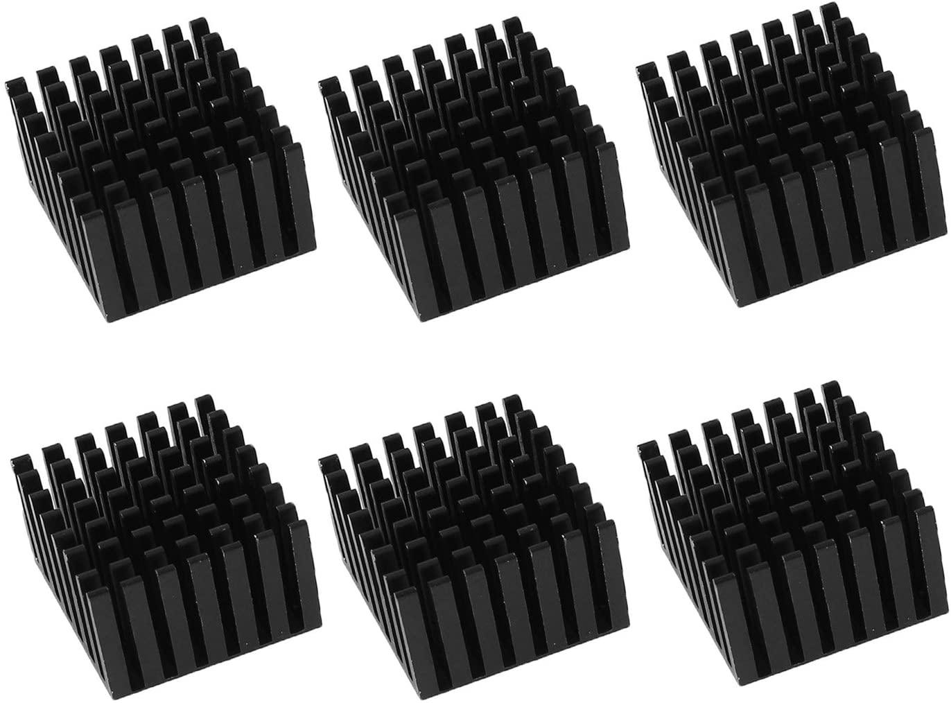 Antrader 6pcs 28 x 28 x 20mm Aluminum Heatsink Cooling Fin Black