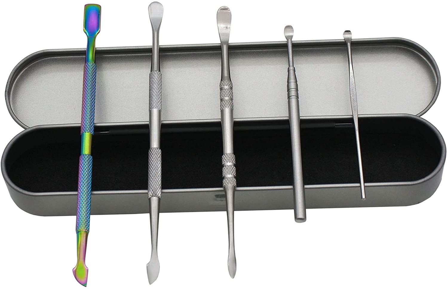Pearwell (Pack of 5) Double-sized Stainless Steel Rainbow Wax Carving Tools Set with silicone covers and Tin Case (B)