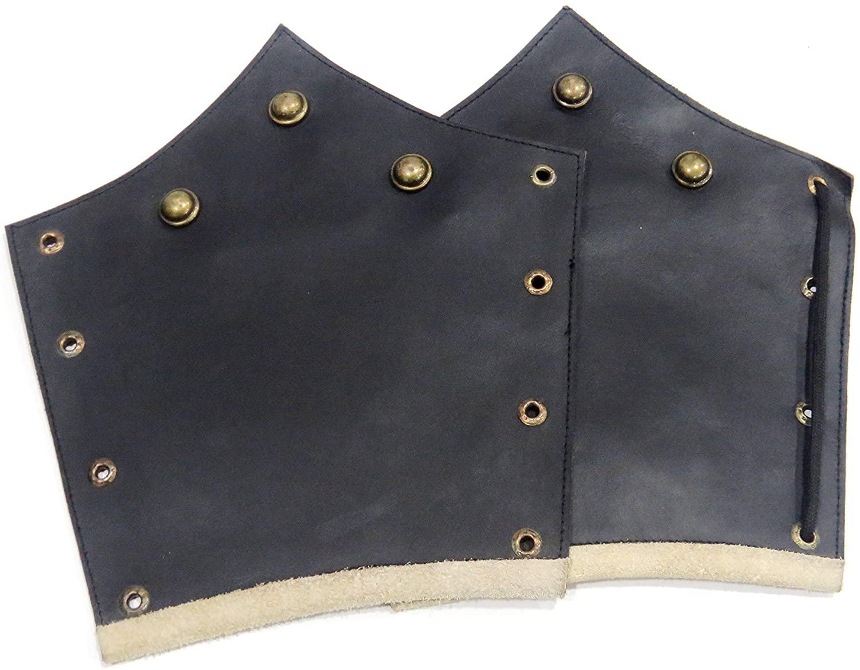 NauticalMart Medieval Knight Leather Arm Bracers Armour Black One Size- Battle Ready