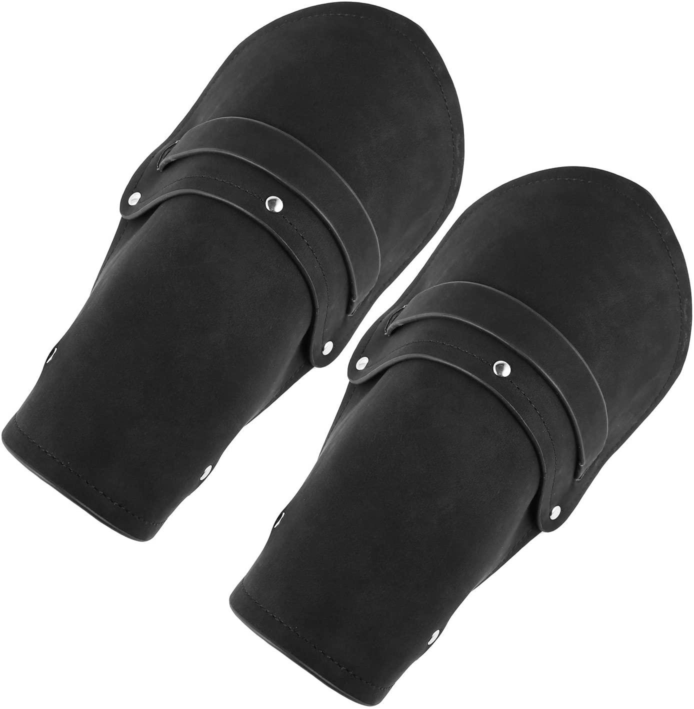 HZMAN Leather Gauntlet Wristband Medieval Bracers Wrist Band Wide Bracer Arm Armor Cuff, 2 Pcs