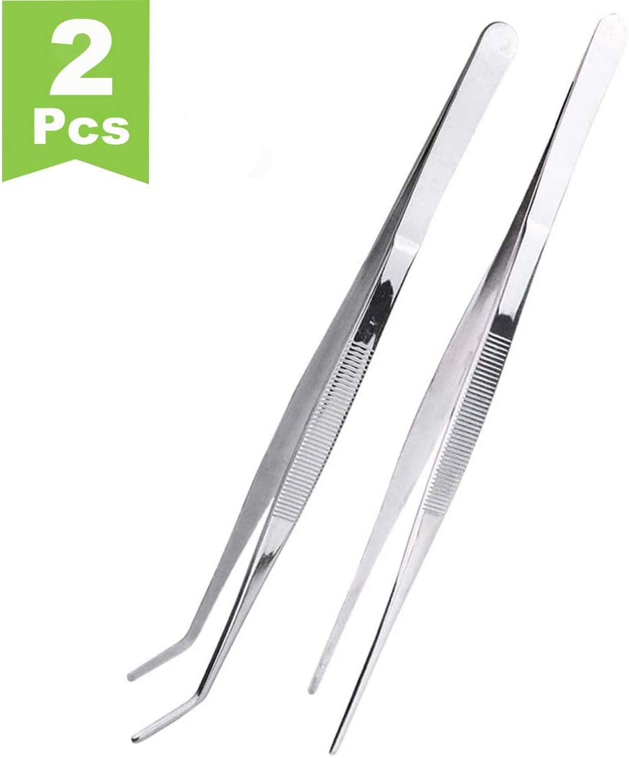 12 Inch Stainless Steel Tongs tweezers with precision serrated tips for surgical & sea food,Heavy Duty Tweezer Tongs for Cooking Crafting Repairing