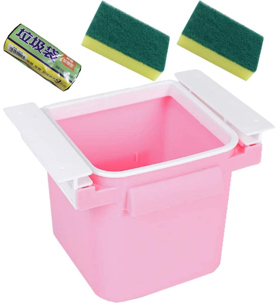 Small trash can pink can be used as a retractable track storage box for desktop home kitchen offices. 1 roll of garbage bags and sponge