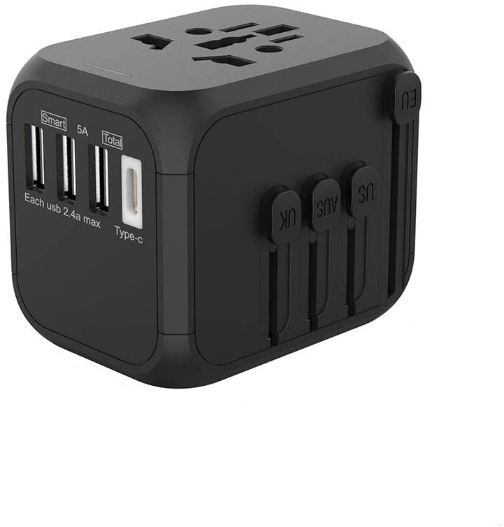 XHDATA P-301 All-in-ONE International Universal Compatibility Travel USB Charger Safety & Quick Intelligent Charging with 3 USB Ports+ Type-C (P-301)