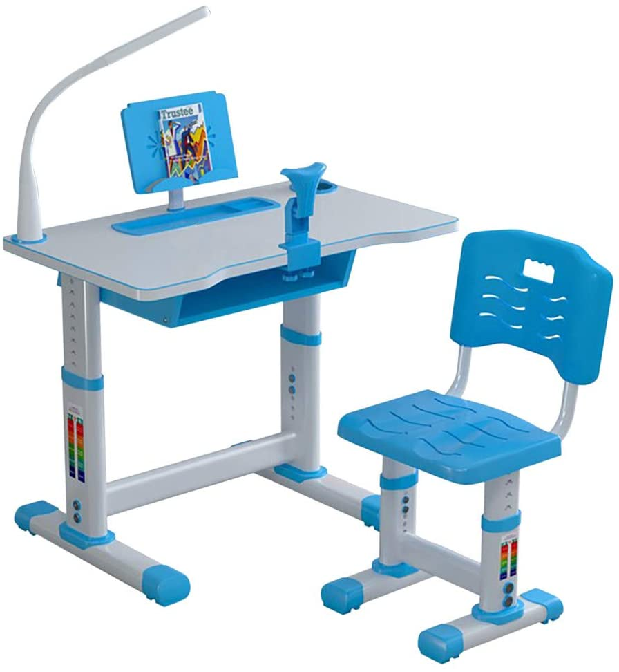 Kids Desk and Chair Set,Kids Adjustable Study Desk Chair for School Bedroom with Drawer Bookstand Storage - Children Desk, Children Study Table, Kids Desk and Chair Set (Blue b, Table: 27.518.1 in)
