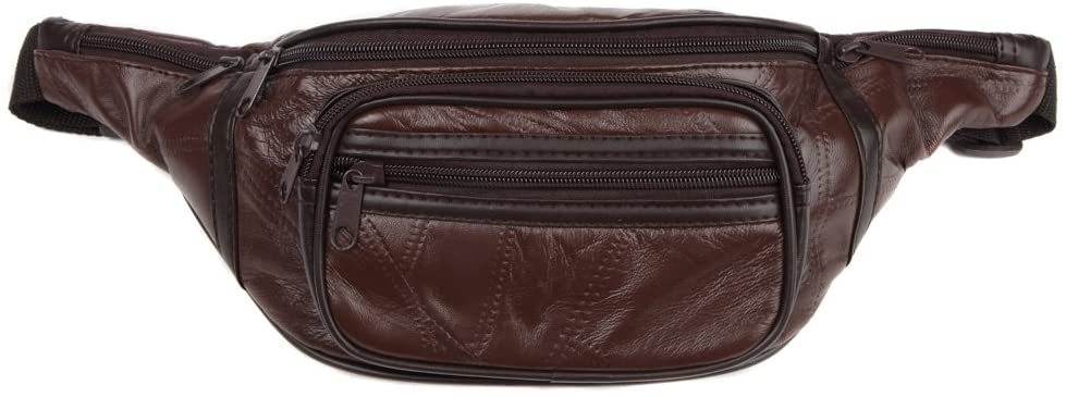 Home-X - Genuine Leather Lambskin Waist Bag Fanny Pack, The Perfect to-Go Travel Bag for Men and Women of All Ages, Brown