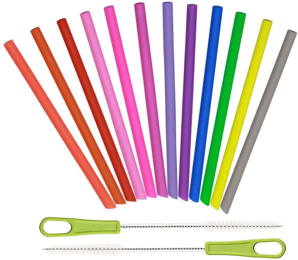 14 Pcs Kids Reusable Silicone Straws, Toddlers/Children Softy Straight Smoothies Drinking Short Straw for Tumbler Yeti/Ozark/Rtic Flexible, Foldable, Chewy, Safe, BPA Free, with 2 Cleaning Brushes
