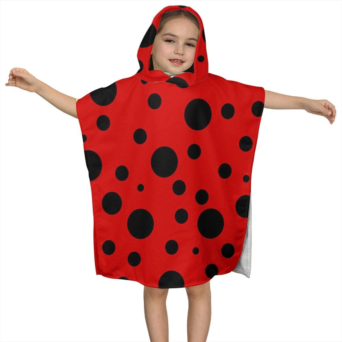 Kiuloam Kids Children Hooded Towel, Ladybug Dots on Red Hooded Bath Towel for Bath Pool and Beach, Fits 2-7 Years Old Boys and Girls