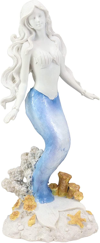 Ebros Gift Capiz Blue and White Gradient Nautical Ariel Mermaid Princess by Sea Coral Reef Starfish Statue Ocean Aquamarine Goddess Decorative Figurine (Standing Mermaid)