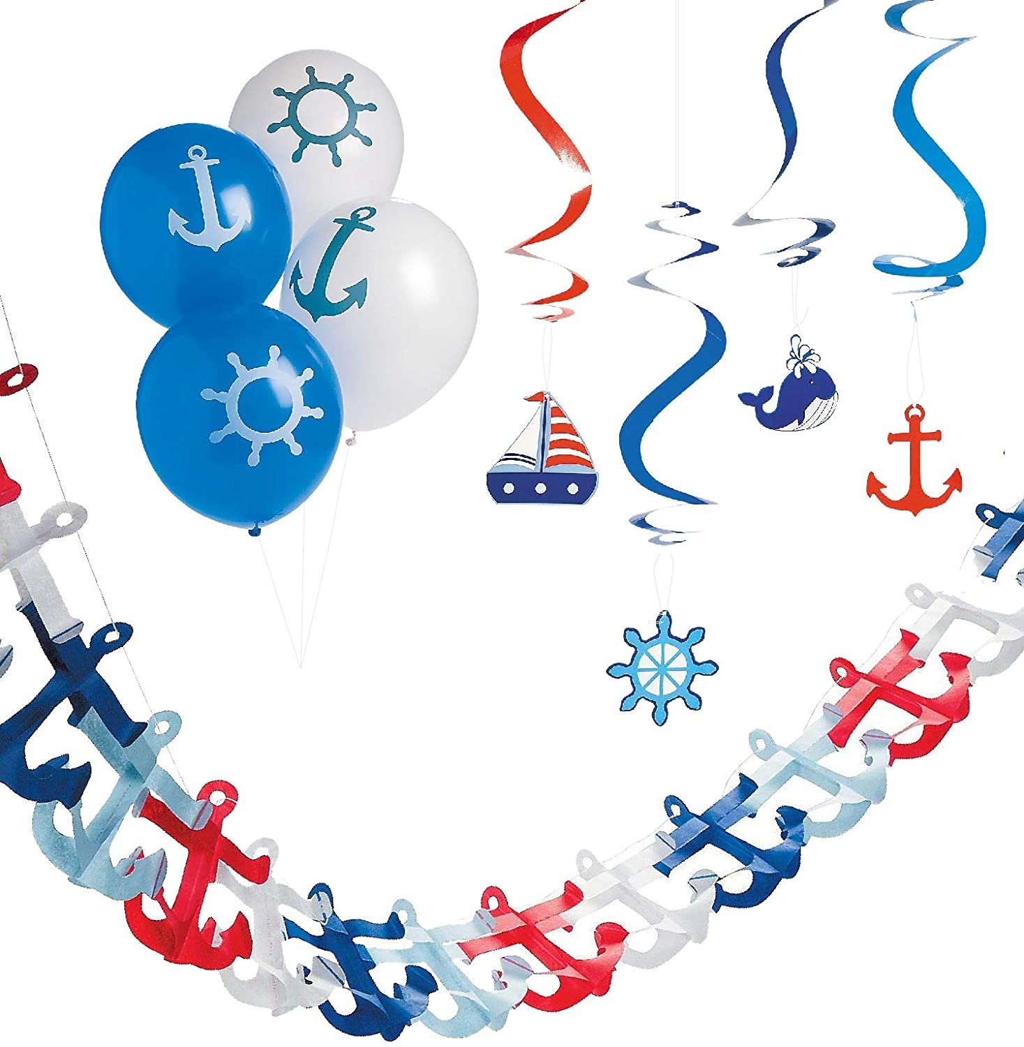 Nautical Party Decorations for Nautical Baby Shower or Sailor Birthday Party - Cruise Theme Party Decor