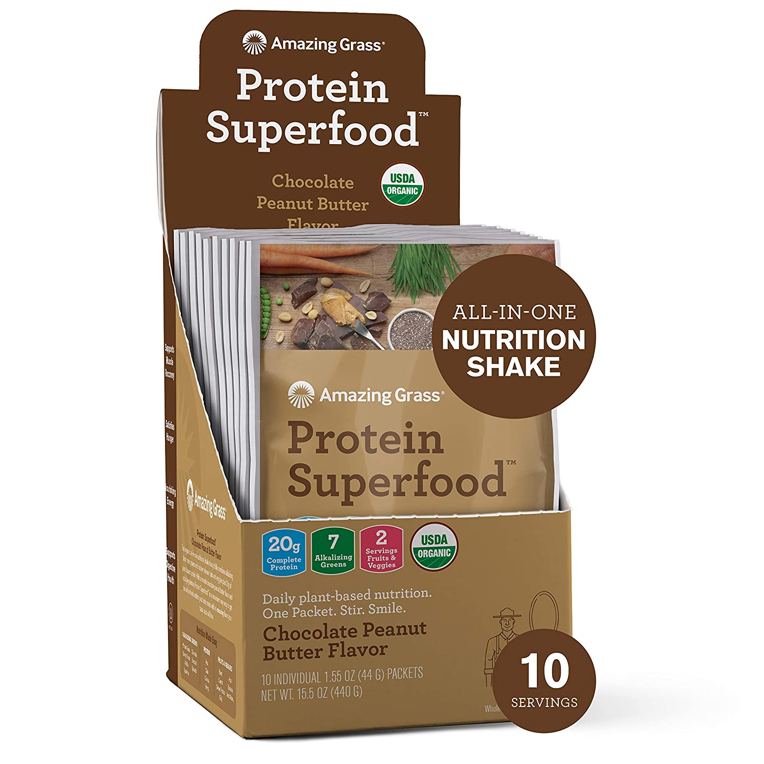 Amazing Grass Protein Superfood: Vegan Protein Powder, All-in-One Nutrition Shake, Peanut Butter, 10 Single Serve Packets