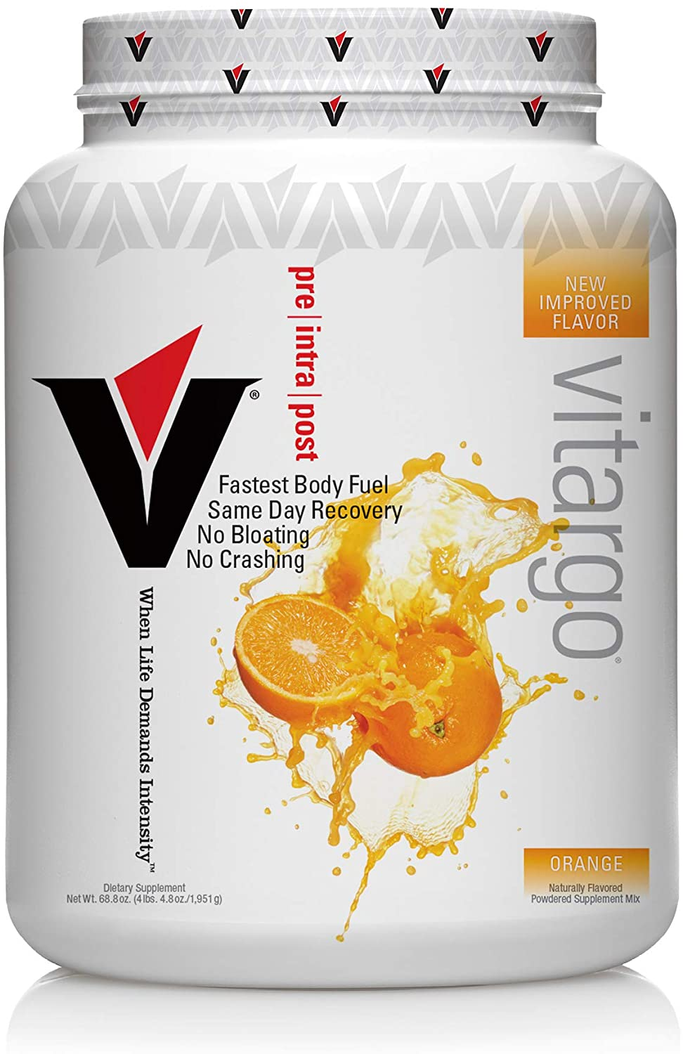 Vitargo Carbohydrate Powder | Feed Muscle Glycogen 2X Faster | 4.4 LB Orange Pre Workout & Post Workout | Carb Supplement for Recovery, Endurance, Gain Muscle Mass