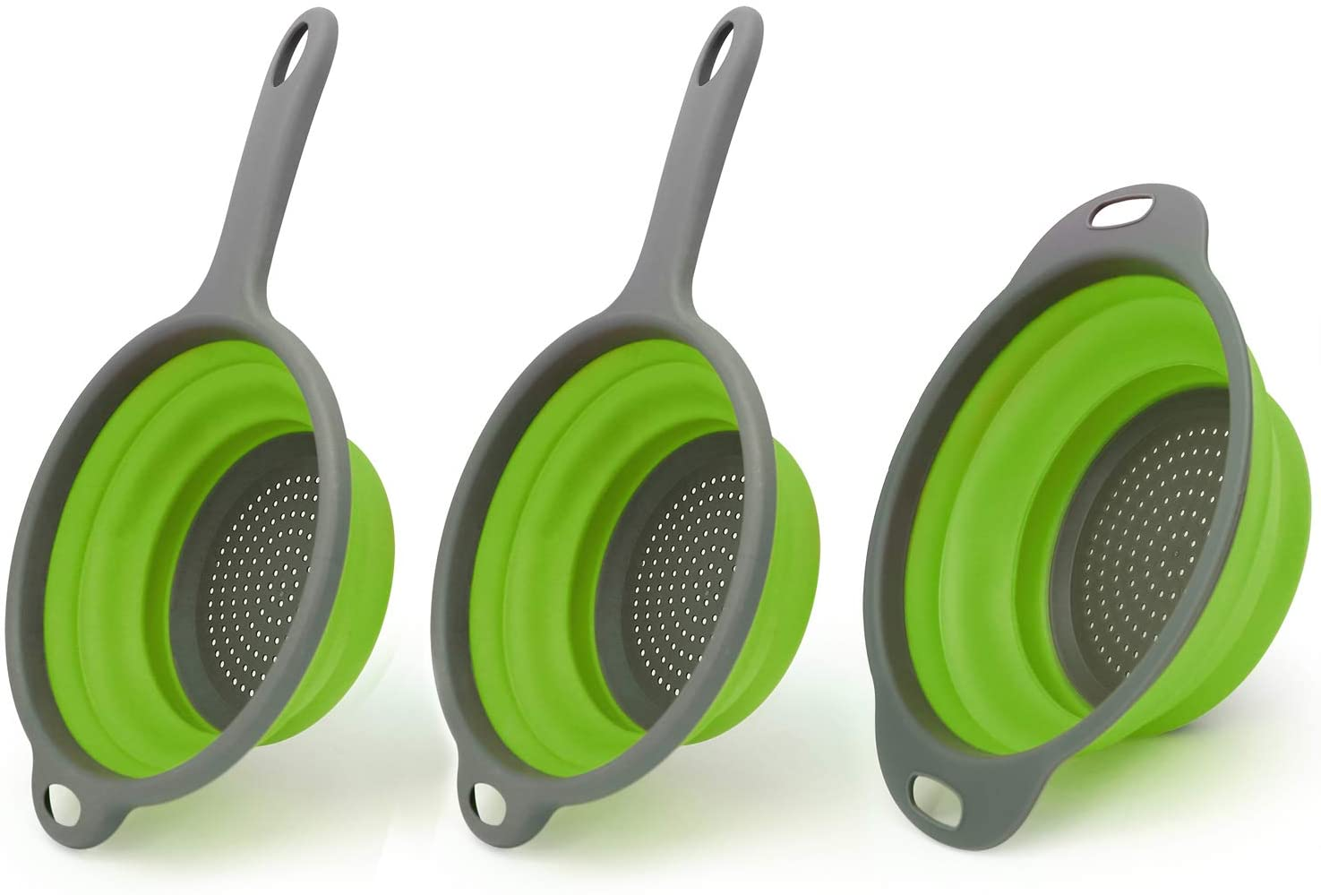 TOPULORS Set of 3 Collapsible Colanders, Kitchen Foldable Strainer with Sturdy Plastic Base, Best for Rinsing or Draining Pasta, Vegetables and Fruits-Green