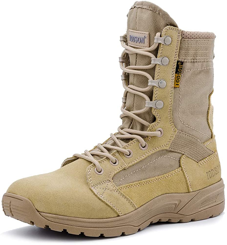 IODSON Men's Ultralight Combat Boots, Breathable Military Boots, Special Force Training Shoes, Shock-Absorbing Tactical Boots
