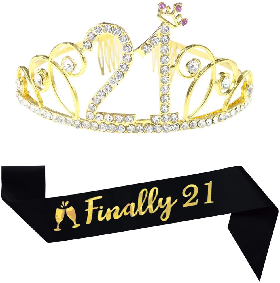 21st Birthday Tiara and Sash,Finally 21 Glitter Satin Sash and Crystal Rhinestone Birthday Crown for Happy 21st Birthday Party Supplies Favors Decorations Cake Topper