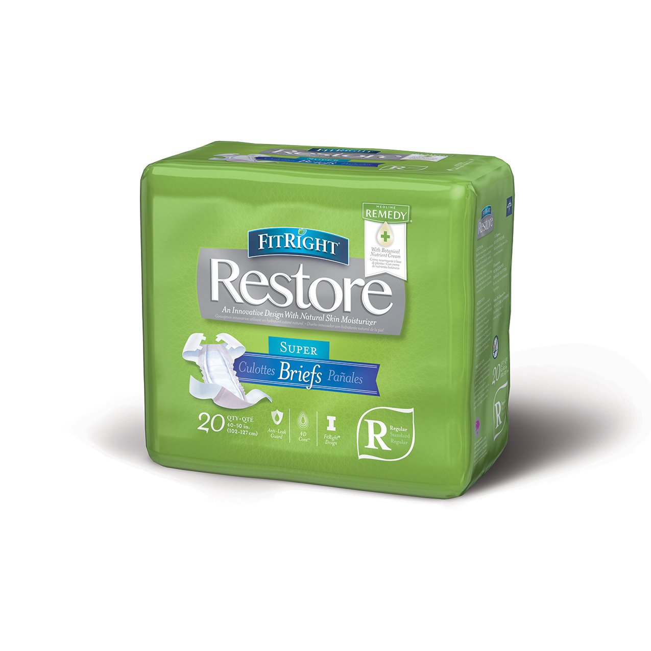 Medline - ERROR:#N/A FitRight Restore Adult Briefs with Tabs, Maximum Absorbency, Regular, 40-50, For Adult Incontinence, Comfort and Skin Health, 4 packs of 20 (80 total)