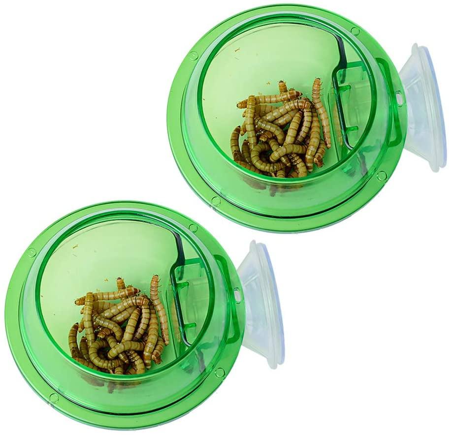 EONMIR 2Pcs Suction Cup Feeder, Reptiles Ledge Accessories Supplies for Gecko, Chameleon