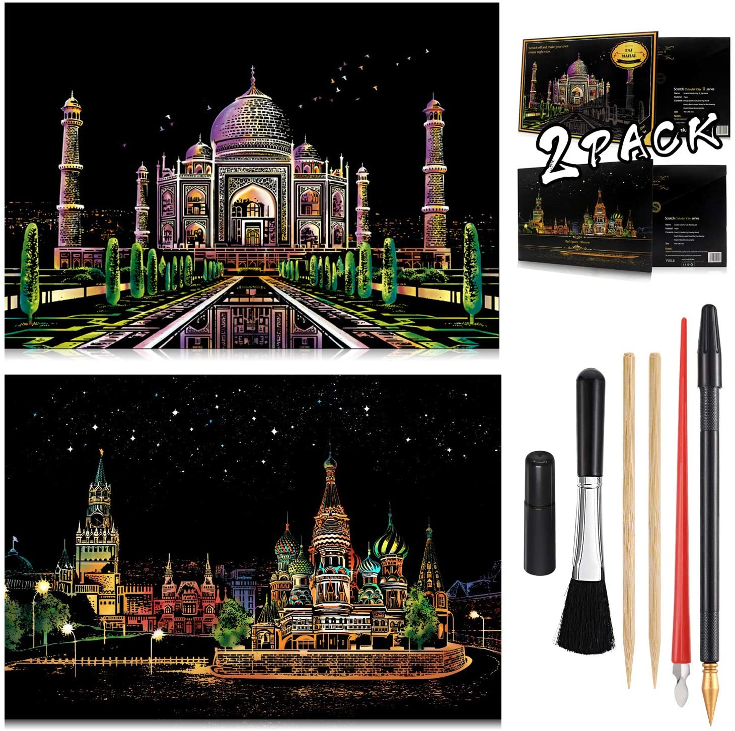 Scratch Art Rainbow Painting Paper 16'' x 11.2'' Sketch Pad Night View Scratchboard for Kids & Adults, Engraving & Craft Set, Scratch Painting Gift, 2 Pack with 6 Tools (Red Square - Taj Mahal)