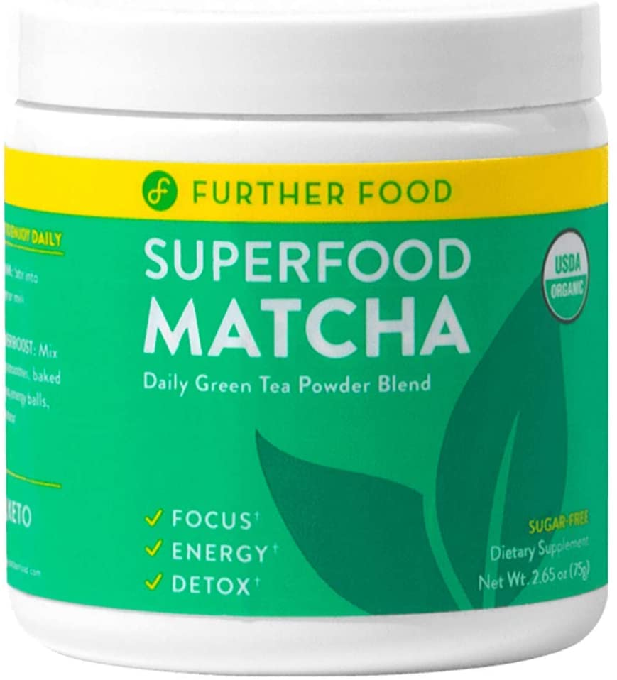Further Food Superfood Matcha: USDA Organic Matcha & Superfoods Blend for Energy & Detox | Plant-Based, Sugar-Free, Non-GMO (30 Servings)