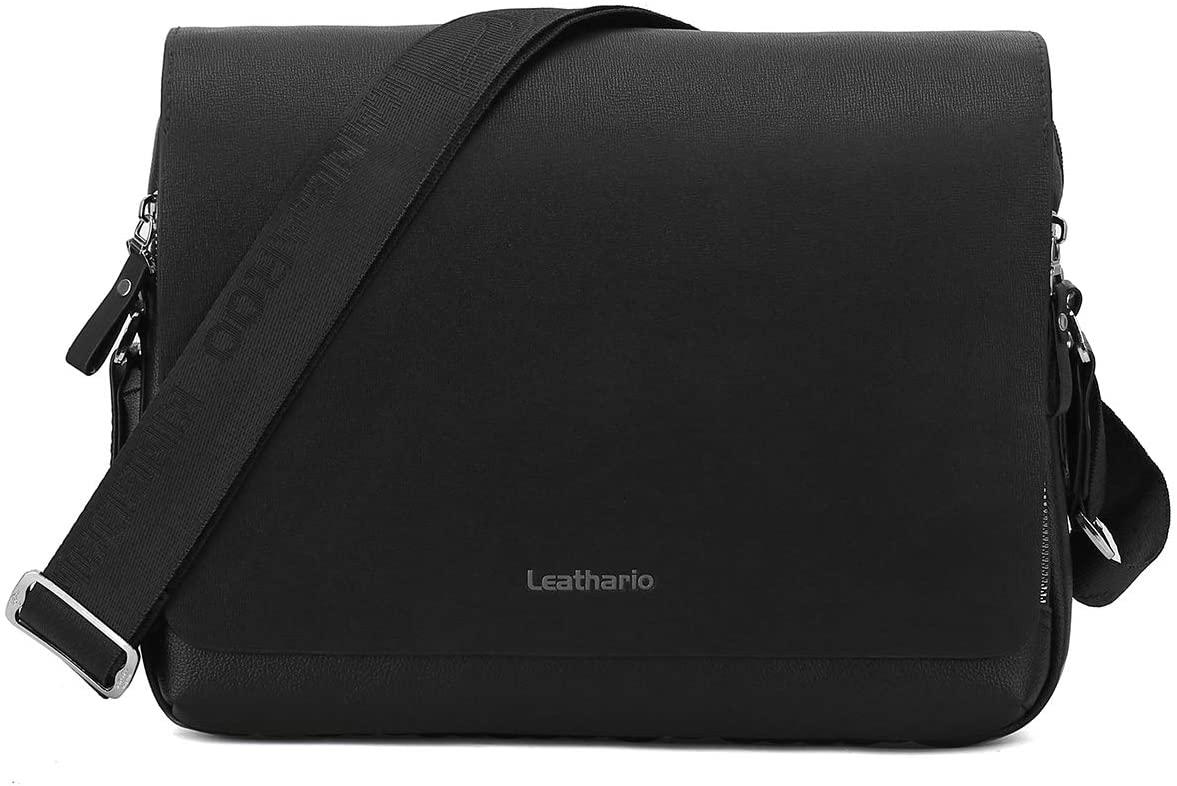 Leathario PU Leather Shoulder Bag Men's Messenger Bag Crossbody Bag Satchel Bag