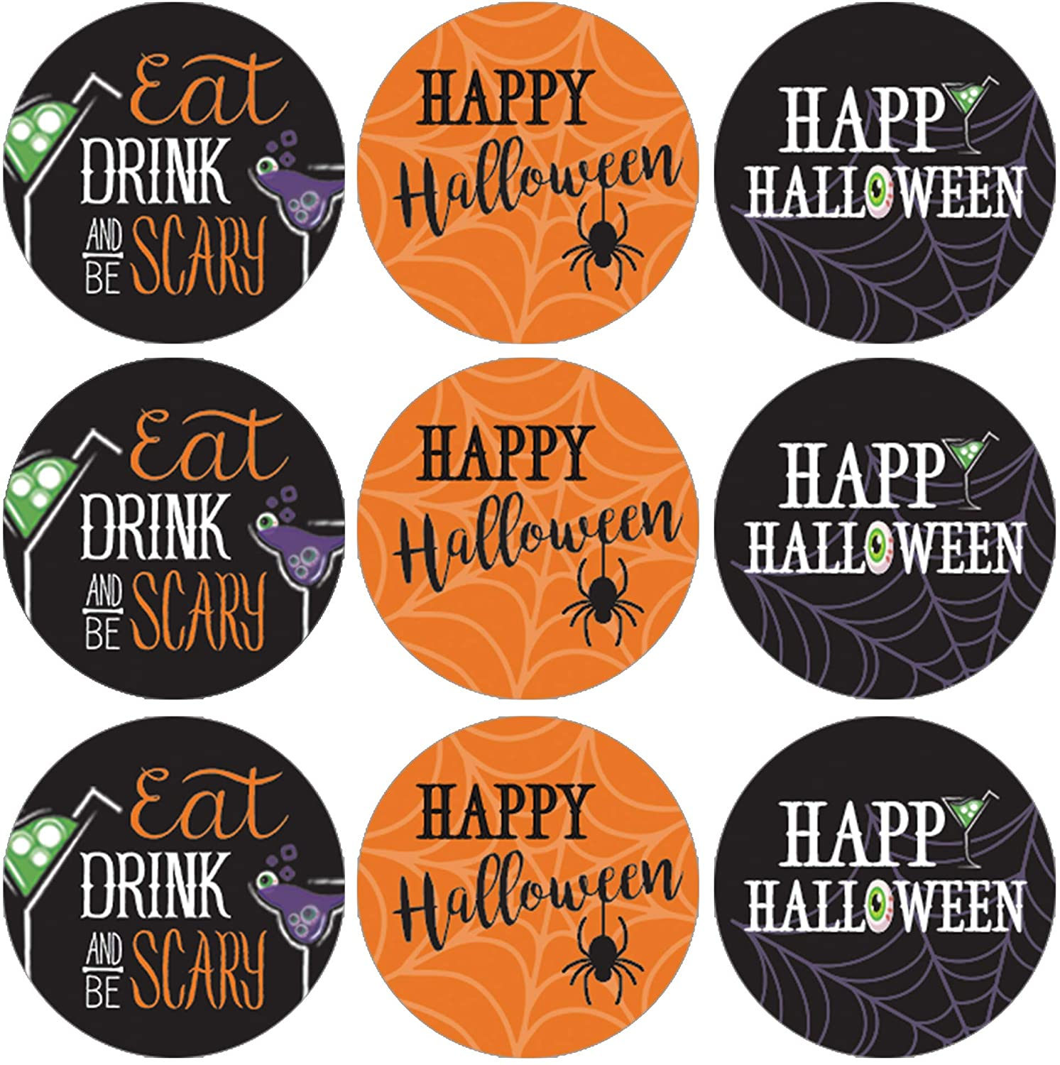 Halloween Party Favor Stickers - Eat Drink and Be Scary - 180 Labels
