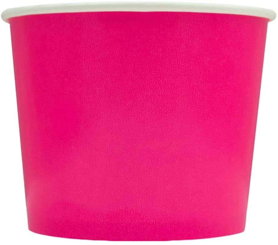 [50 Count] Pink Paper Ice Cream Cups - 12 oz Disposable Dessert Bowls - Perfect For Your Yummy Foods! Many Colors & Sizes - Frozen Dessert Supplies