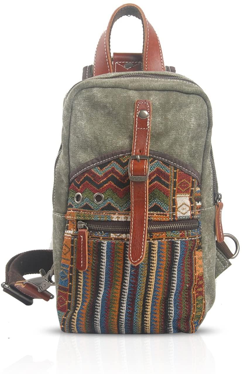 FANDARE Sling Shoulder Crossbody Bag Men/Women Student Wear-resistant Canvas ArmyGreen