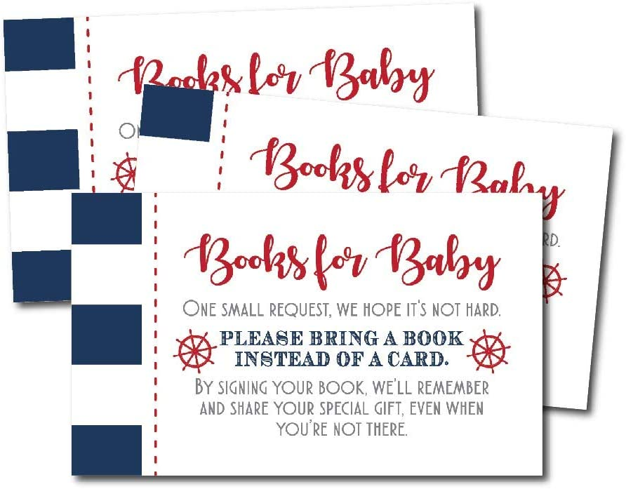 25 Ahoy It's A Boy Books for Baby Request Insert Card for Baby Shower Invitations or invites, Nautical Navy Cute Bring A Book Instead of A Card Theme for Gender Party Story Games, Business Card Sized